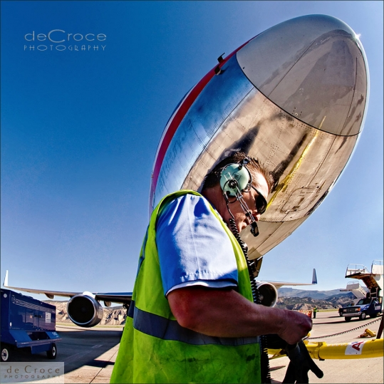 Commercial photo Denver of airport worker for G2 Secure