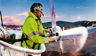 Vail Colorado commercial photography of plane deicing